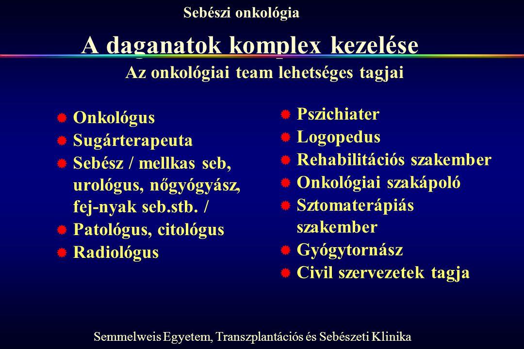 Semmelweis Egyetem, Transzplantációs és Sebészeti Klinika Sebészi onkológia A daganatok komplex kezelése  Onkológus  Sugárterapeuta  Sebész / mellkas seb, urológus, nőgyógyász, fej-nyak seb.stb.