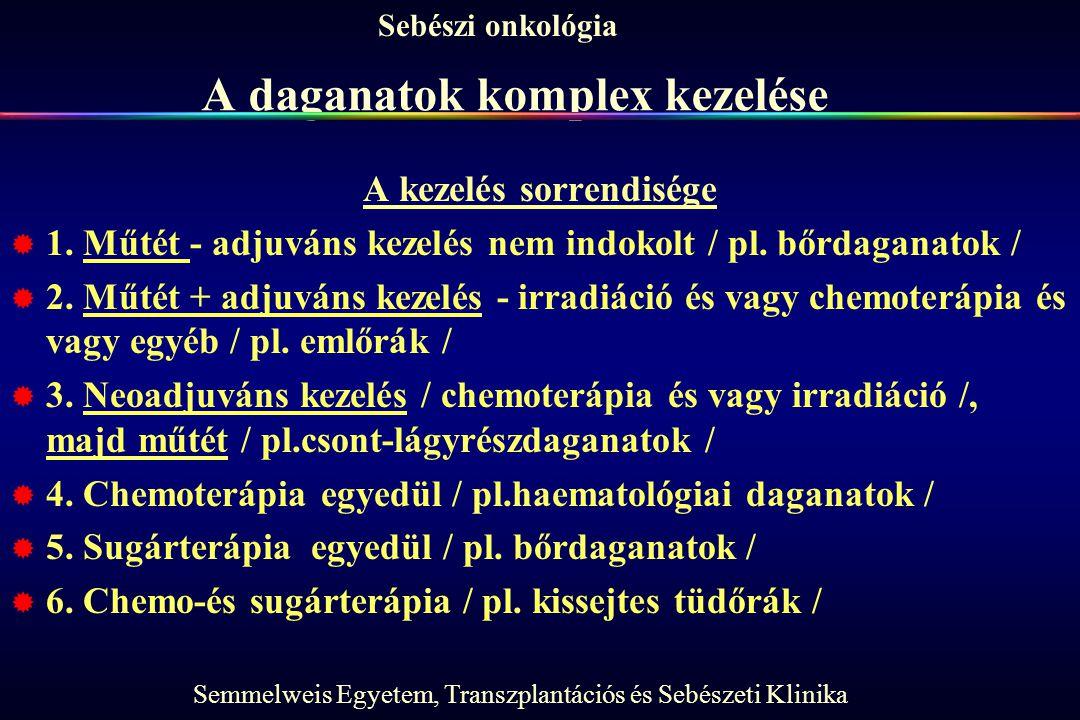 Semmelweis Egyetem, Transzplantációs és Sebészeti Klinika Sebészi onkológia A daganatok komplex kezelése A kezelés sorrendisége  1.