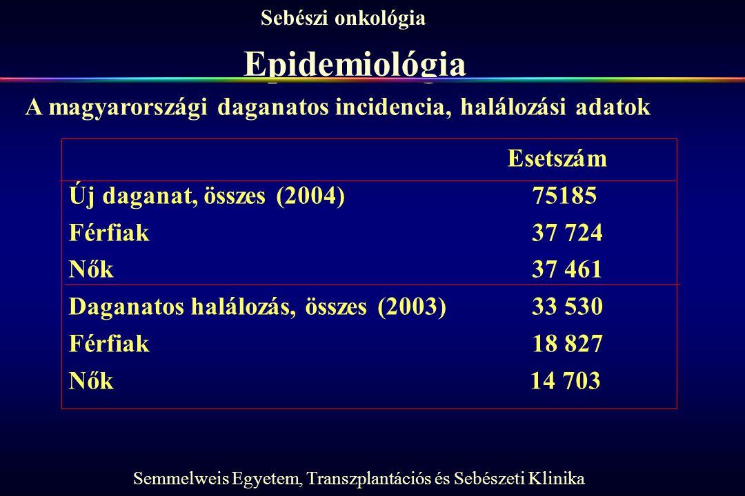 Semmelweis Egyetem, Transzplantációs és Sebészeti Klinika Sebészi onkológia Epidemiológia Esetszám Új daganat, összes (2004)75185 Férfiak37 724 Nők37 461 Daganatos halálozás, összes (2003)33 530 Férfiak18 827 Nők 14 703 A magyarországi daganatos incidencia, halálozási adatok