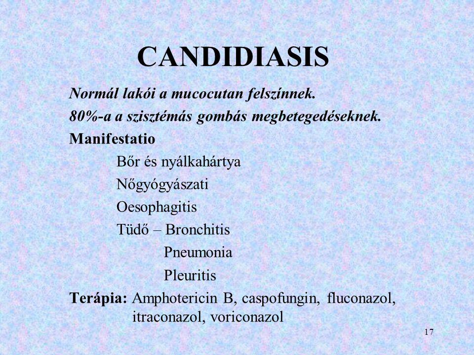 CANDIDIASIS Normál lakói a mucocutan felszínnek. 80%-a a szisztémás gombás megbetegedéseknek. Manifestatio Bőr és nyálkahártya Nőgyógyászati Oesophagi
