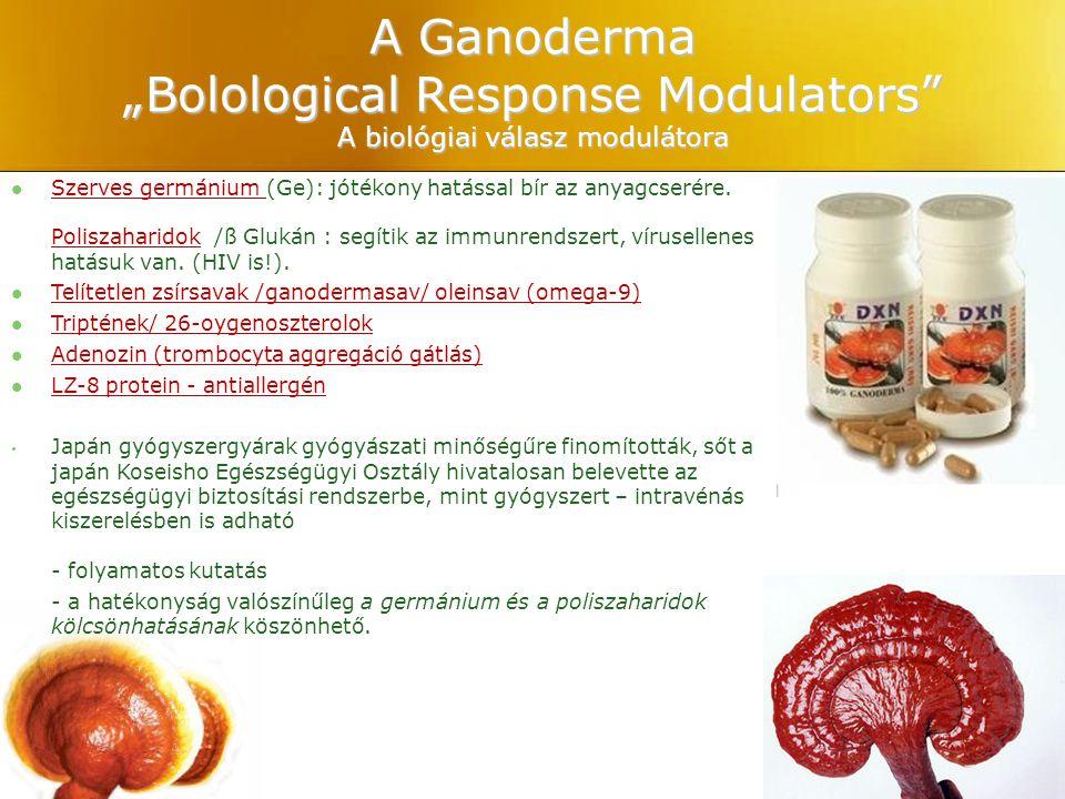 """A Ganoderma """"Bolological Response Modulators"""" A biológiai válasz modulátora Szerves germánium (Ge): jótékony hatással bír az anyagcserére. Poliszahari"""