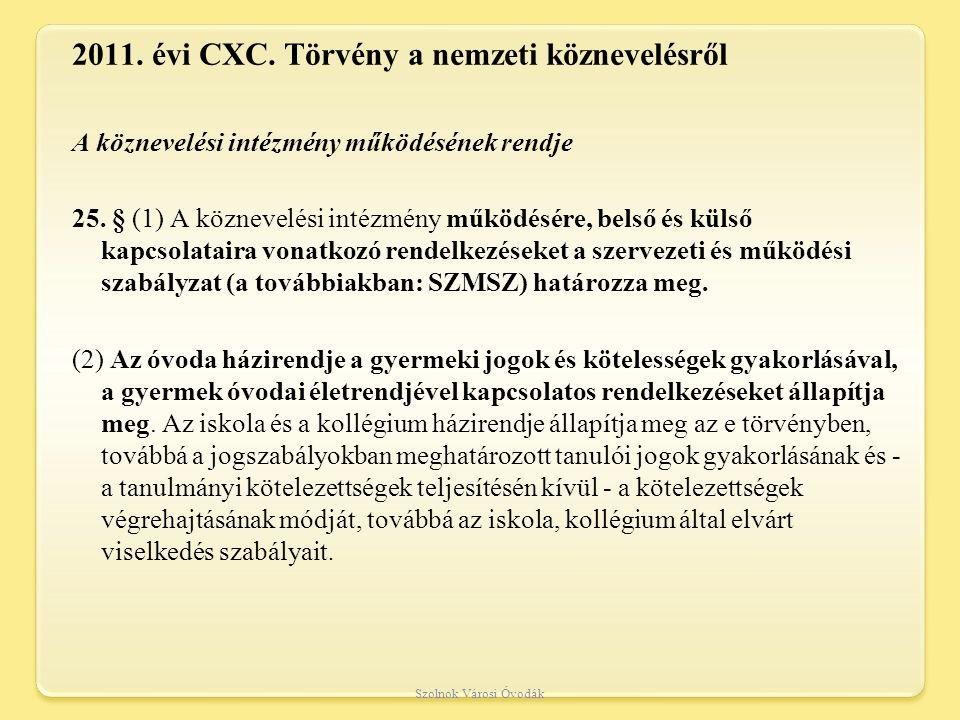 2011.évi CXC. Törvény a nemzeti köznevelésről A köznevelési intézmény működésének rendje 25.