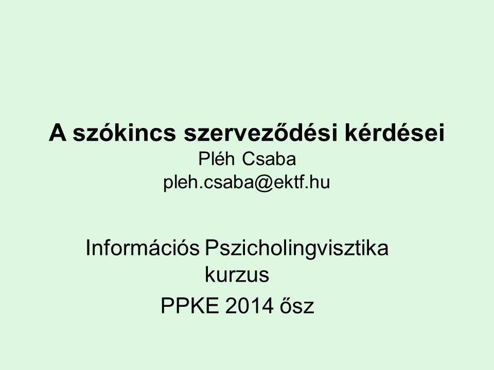 A szókincs szerveződési kérdései Pléh Csaba pleh.csaba@ektf.hu Információs Pszicholingvisztika kurzus PPKE 2014 ősz
