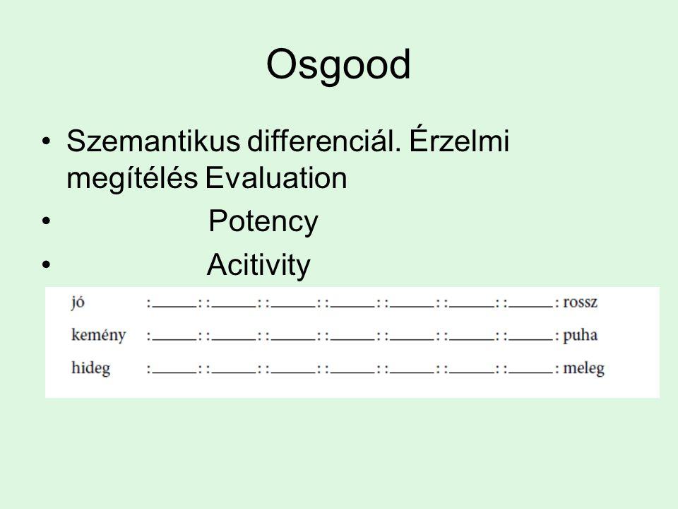 Osgood Szemantikus differenciál. Érzelmi megítélés Evaluation Potency Acitivity