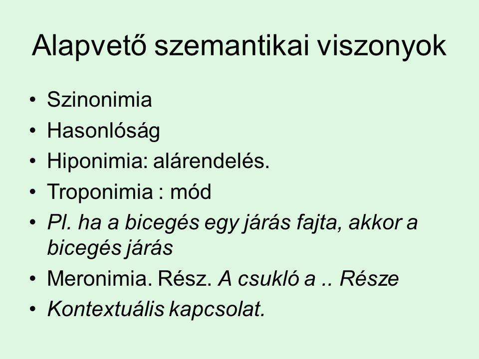 Alapvető szemantikai viszonyok Szinonimia Hasonlóság Hiponimia: alárendelés.