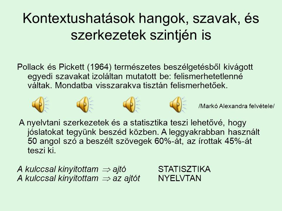 Kontextushatások hangok, szavak, és szerkezetek szintjén is Pollack és Pickett (1964) természetes beszélgetésből kivágott egyedi szavakat izoláltan mutatott be: felismerhetetlenné váltak.