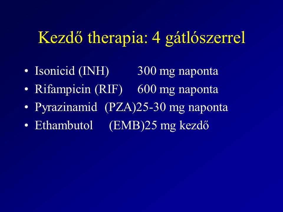 Kezdő therapia: 4 gátlószerrel Isonicid (INH)300 mg naponta Rifampicin (RIF)600 mg naponta Pyrazinamid (PZA)25-30 mg naponta Ethambutol(EMB)25 mg kezd