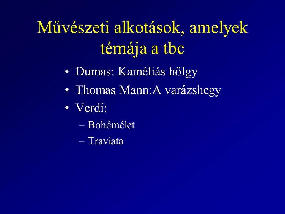 Művészeti alkotások, amelyek témája a tbc Dumas: Kaméliás hölgy Thomas Mann:A varázshegy Verdi: –Bohémélet –Traviata