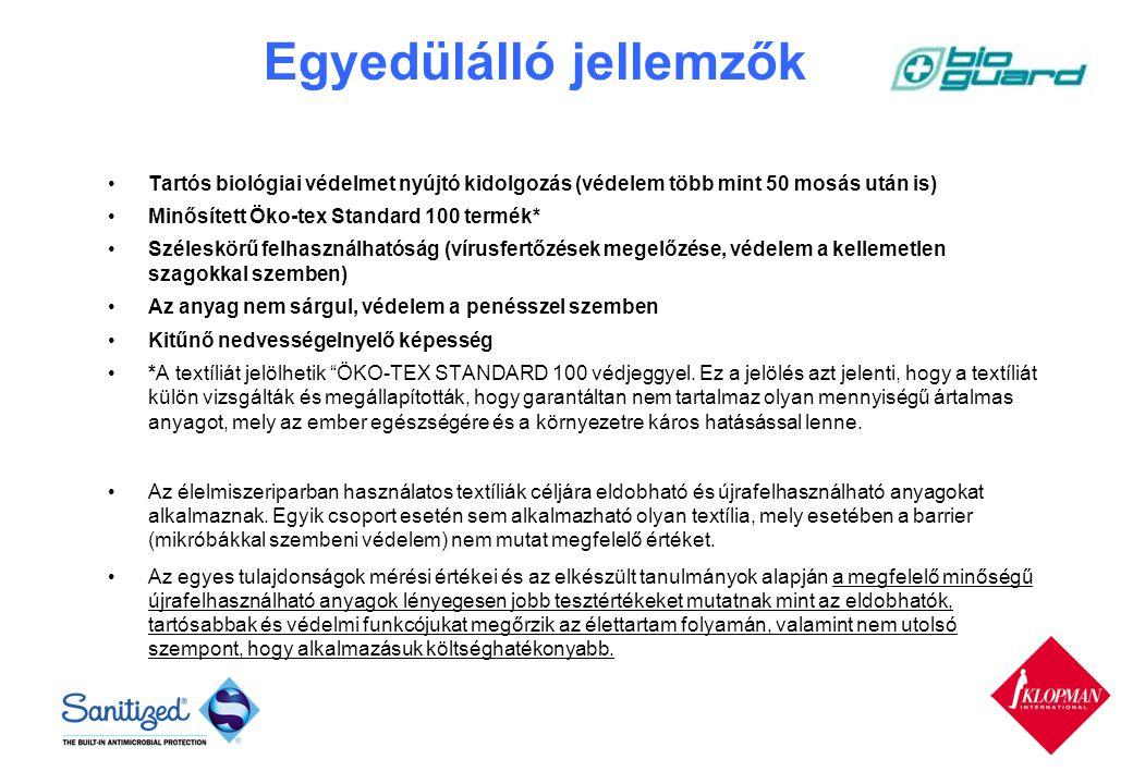 Egyedülálló jellemzők Tartós biológiai védelmet nyújtó kidolgozás (védelem több mint 50 mosás után is) Minősített Öko-tex Standard 100 termék* Széleskörű felhasználhatóság (vírusfertőzések megelőzése, védelem a kellemetlen szagokkal szemben) Az anyag nem sárgul, védelem a penésszel szemben Kitűnő nedvességelnyelő képesség *A textíliát jelölhetik ÖKO-TEX STANDARD 100 védjeggyel.