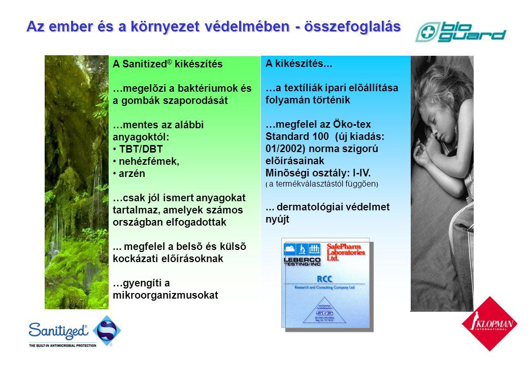 A Sanitized ® kikészítés …megelõzi a baktériumok és a gombák szaporodását …mentes az alábbi anyagoktól: TBT/DBT nehézfémek, arzén …csak jól ismert anyagokat tartalmaz, amelyek számos országban elfogadottak...