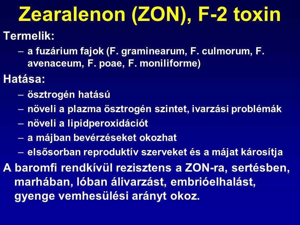 Zearalenon (ZON), F-2 toxin Termelik: –a fuzárium fajok (F. graminearum, F. culmorum, F. avenaceum, F. poae, F. moniliforme) Hatása: –ösztrogén hatású