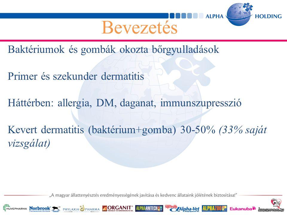 Baktériumok és gombák okozta bőrgyulladások Primer és szekunder dermatitis Háttérben: allergia, DM, daganat, immunszupresszió Kevert dermatitis (baktérium+gomba) 30-50% (33% saját vizsgálat) Bevezetés