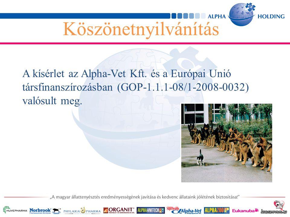 A kísérlet az Alpha-Vet Kft. és a Európai Unió társfinanszírozásban (GOP-1.1.1-08/1-2008-0032) valósult meg. Köszönetnyilvánítás
