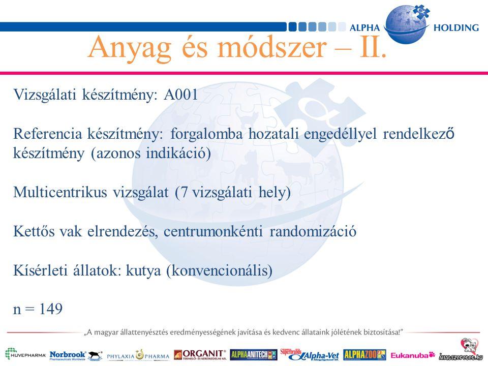 Vizsgálati készítmény: A001 Referencia készítmény: forgalomba hozatali engedéllyel rendelkez ő készítmény (azonos indikáció) Multicentrikus vizsgálat