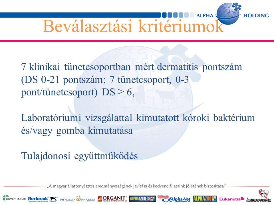 7 klinikai tünetcsoportban mért dermatitis pontszám (DS 0-21 pontszám; 7 tünetcsoport, 0-3 pont/tünetcsoport) DS ≥ 6, Laboratóriumi vizsgálattal kimutatott kóroki baktérium és/vagy gomba kimutatása Tulajdonosi együttműködés Beválasztási kritériumok