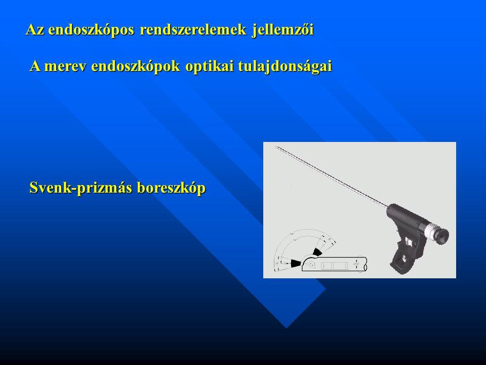 Az endoszkópos rendszerelemek jellemzői A merev endoszkópok optikai tulajdonságai Svenk-prizmás boreszkóp