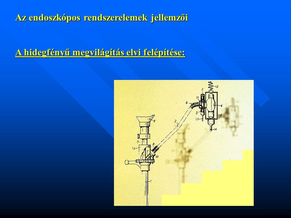 Az endoszkópos rendszerelemek jellemzői A hidegfényű megvilágítás elvi felépítése:
