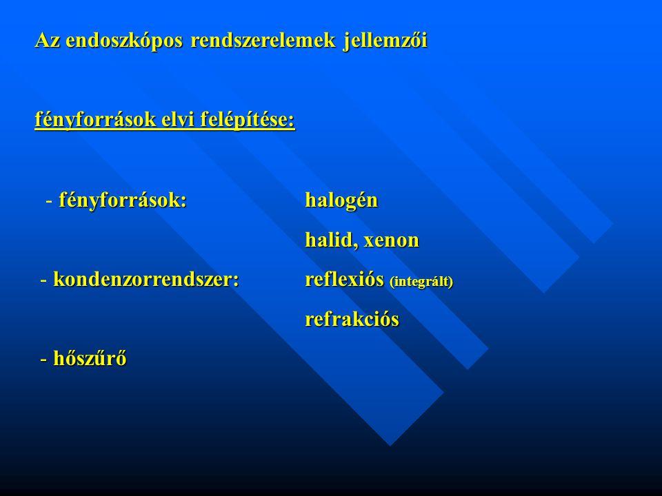 Az endoszkópos rendszerelemek jellemzői fényforrások elvi felépítése: fényforrások:halogén - fényforrások:halogén halid, xenon kondenzorrendszer: refl