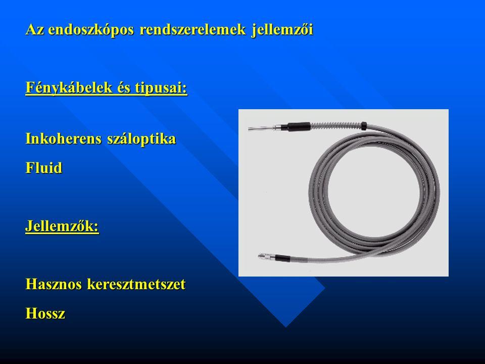 Az endoszkópos rendszerelemek jellemzői Fénykábelek és tipusai: Inkoherens száloptika FluidJellemzők: Hasznos keresztmetszet Hossz