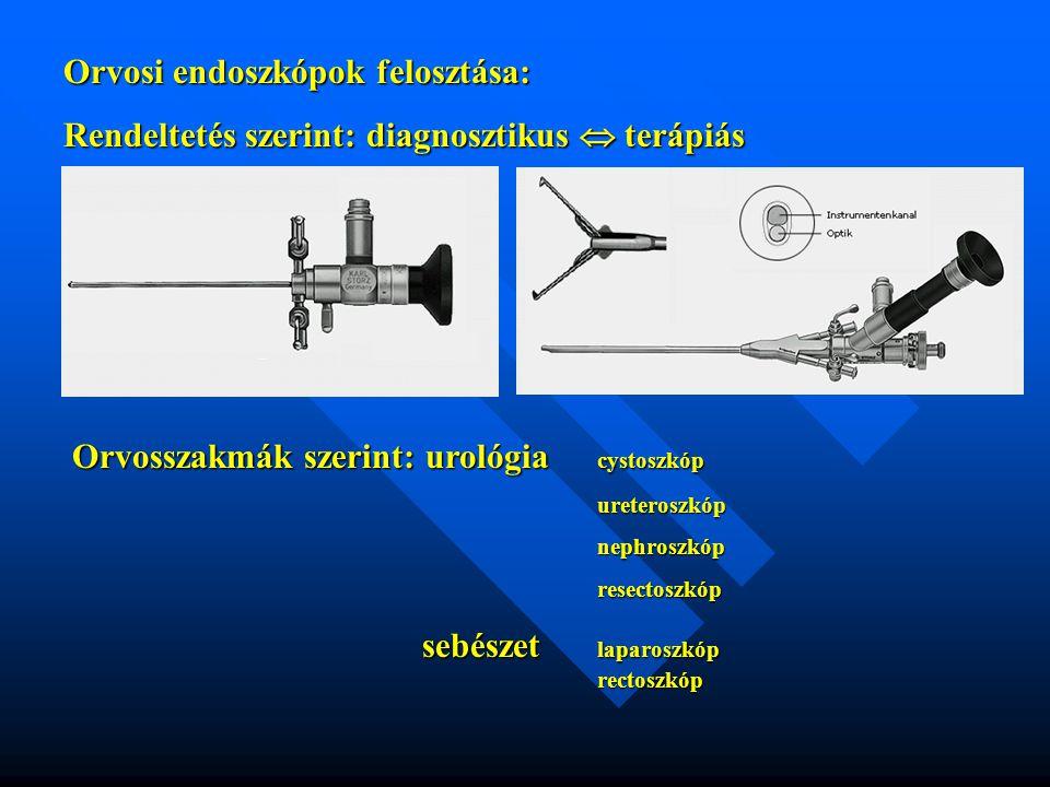 Orvosi endoszkópok felosztása: Rendeltetés szerint: diagnosztikus  terápiás Orvosszakmák szerint: urológia cystoszkóp ureteroszkópnephroszkópresectos