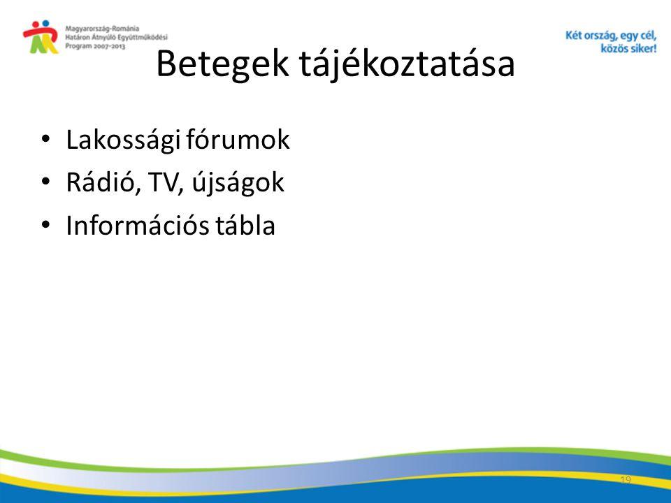 19 Betegek tájékoztatása Lakossági fórumok Rádió, TV, újságok Információs tábla