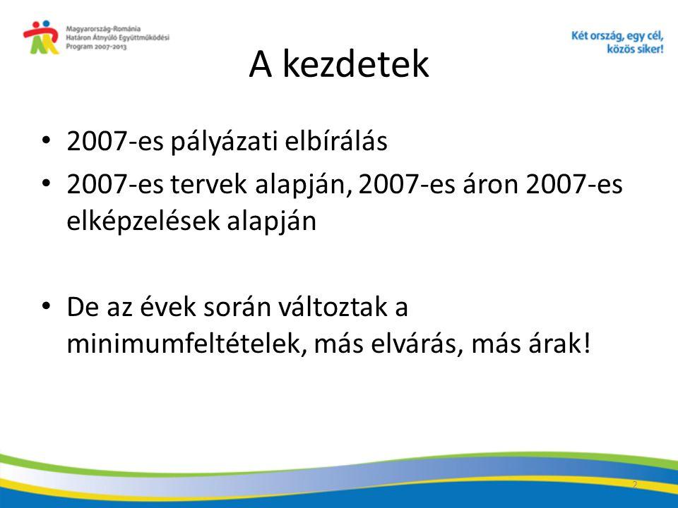 2 A kezdetek 2007-es pályázati elbírálás 2007-es tervek alapján, 2007-es áron 2007-es elképzelések alapján De az évek során változtak a minimumfeltételek, más elvárás, más árak!