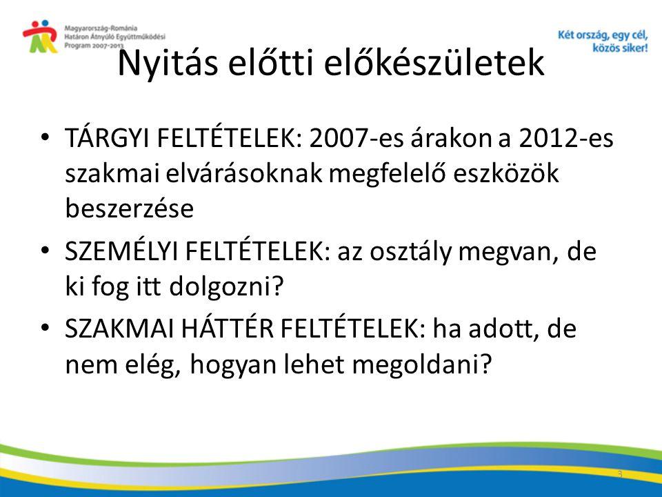 3 Nyitás előtti előkészületek TÁRGYI FELTÉTELEK: 2007-es árakon a 2012-es szakmai elvárásoknak megfelelő eszközök beszerzése SZEMÉLYI FELTÉTELEK: az osztály megvan, de ki fog itt dolgozni.
