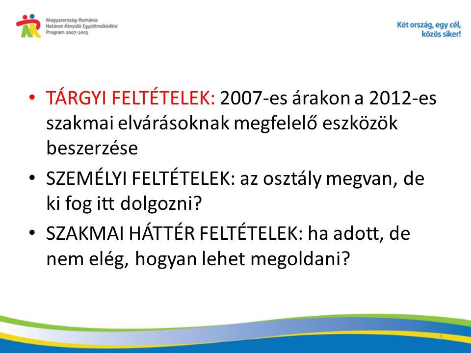 15 TÁRGYI FELTÉTELEK: 2007-es árakon a 2012-es szakmai elvárásoknak megfelelő eszközök beszerzése SZEMÉLYI FELTÉTELEK: az osztály megvan, de ki fog itt dolgozni.