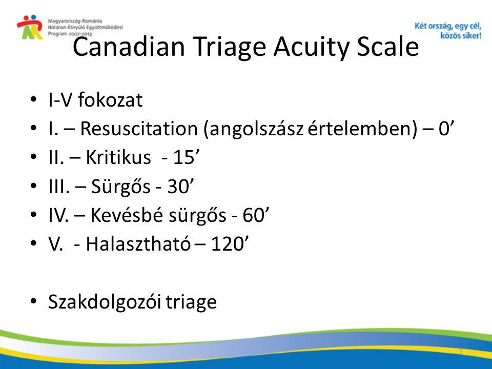 7 Canadian Triage Acuity Scale I-V fokozat I.– Resuscitation (angolszász értelemben) – 0' II.