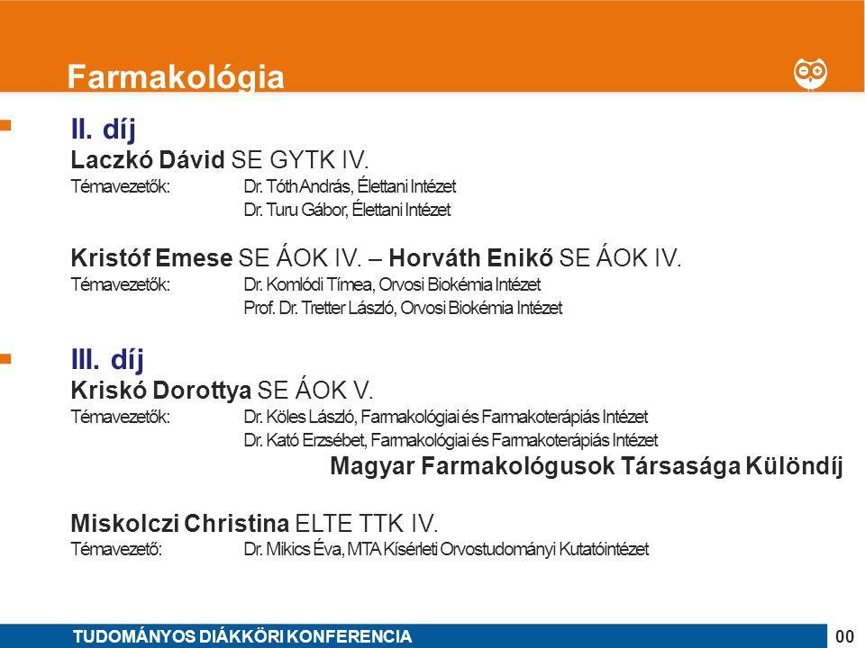 1 II. díj Laczkó Dávid SE GYTK IV. Témavezetők: Dr. Tóth András, Élettani Intézet Dr. Turu Gábor, Élettani Intézet Kristóf Emese SE ÁOK IV. – Horváth