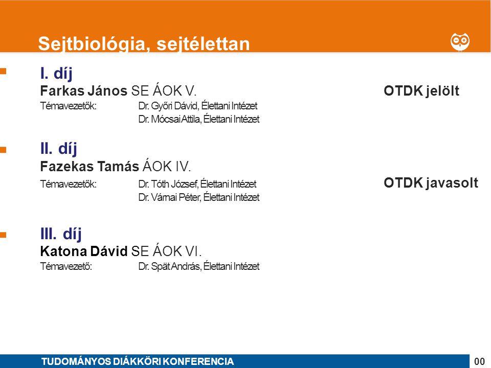 1 I. díj Farkas János SE ÁOK V. OTDK jelölt Témavezetők: Dr. Győri Dávid, Élettani Intézet Dr. Mócsai Attila, Élettani Intézet II. díj Fazekas Tamás Á