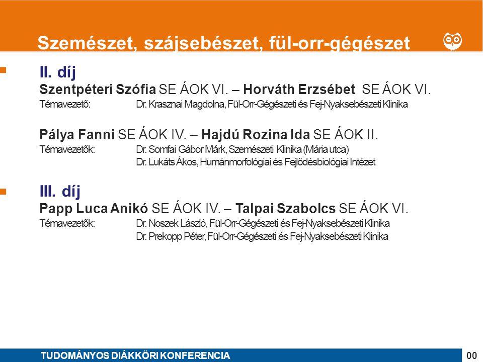 1 II. díj Szentpéteri Szófia SE ÁOK VI. – Horváth Erzsébet SE ÁOK VI. Témavezető: Dr. Krasznai Magdolna, Fül-Orr-Gégészeti és Fej-Nyaksebészeti Klinik