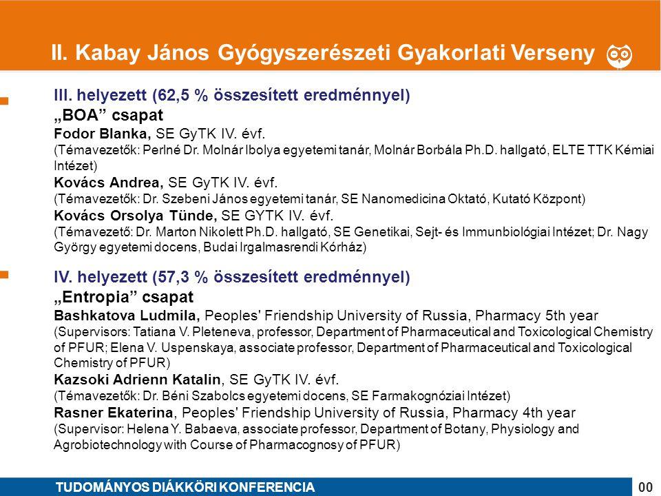 """1 III. helyezett (62,5 % összesített eredménnyel) """"BOA"""" csapat Fodor Blanka, SE GyTK IV. évf. (Témavezetők: Perlné Dr. Molnár Ibolya egyetemi tanár, M"""