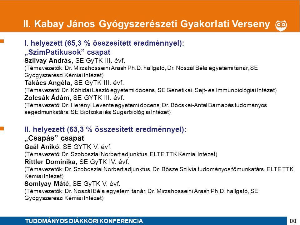 """1 I. helyezett (65,3 % összesített eredménnyel): """"SzimPatikusok"""" csapat Szilvay András, SE GyTK III. évf. (Témavezetők: Dr. Mirzahosseini Arash Ph.D."""