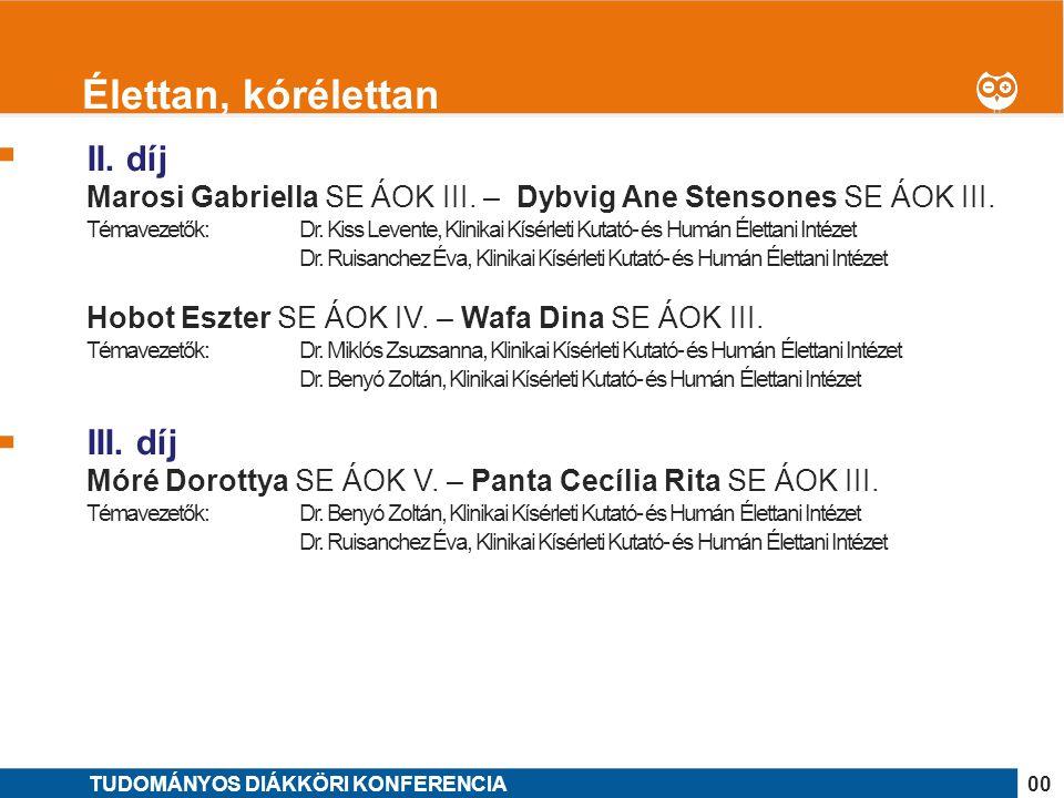 1 II. díj Marosi Gabriella SE ÁOK III. – Dybvig Ane Stensones SE ÁOK III. Témavezetők: Dr. Kiss Levente, Klinikai Kísérleti Kutató- és Humán Élettani