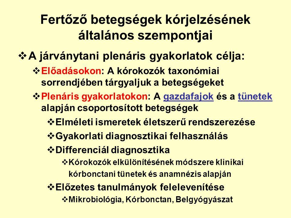  A járványtani plenáris gyakorlatok célja:  Előadásokon: A kórokozók taxonómiai sorrendjében tárgyaljuk a betegségeket  Plenáris gyakorlatokon: A g
