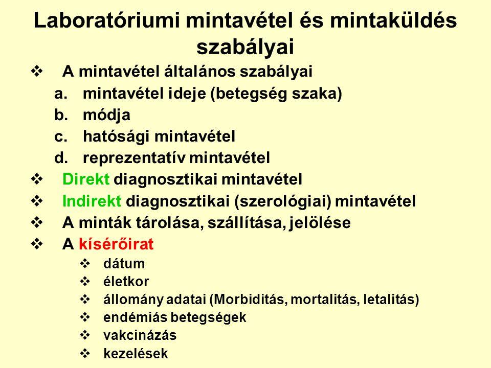 Laboratóriumi mintavétel és mintaküldés szabályai  A mintavétel általános szabályai a.mintavétel ideje (betegség szaka) b.módja c.hatósági mintavétel