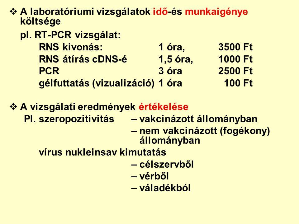  A laboratóriumi vizsgálatok idő-és munkaigénye költsége pl. RT-PCR vizsgálat: RNS kivonás: 1 óra,3500 Ft RNS átírás cDNS-é1,5 óra,1000 Ft PCR3 óra25