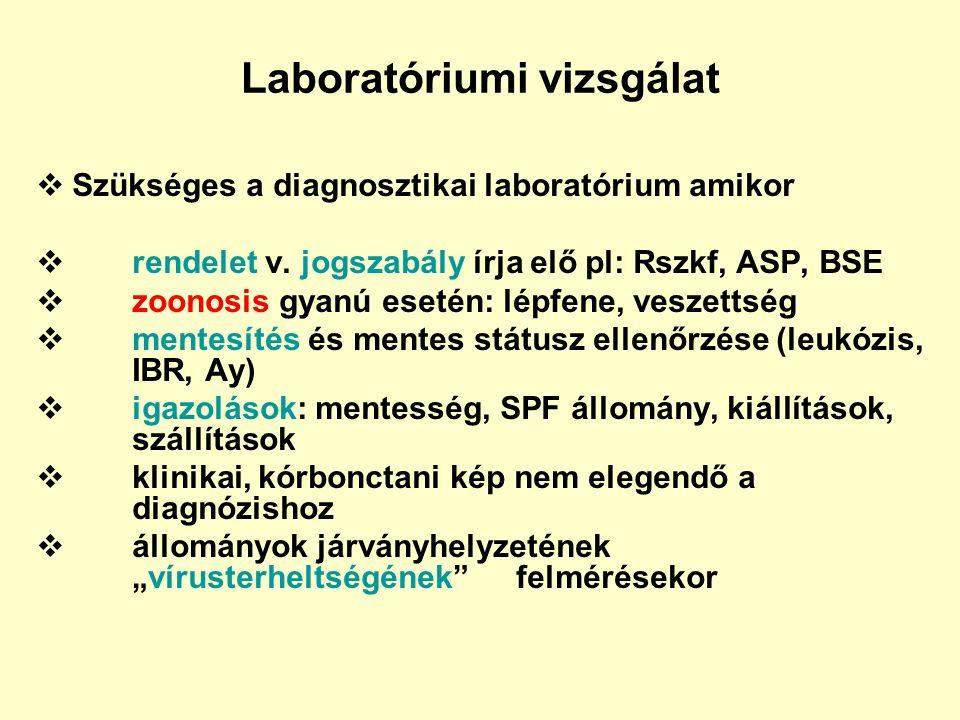 Laboratóriumi vizsgálat  Szükséges a diagnosztikai laboratórium amikor  rendelet v. jogszabály írja elő pl: Rszkf, ASP, BSE  zoonosis gyanú esetén: