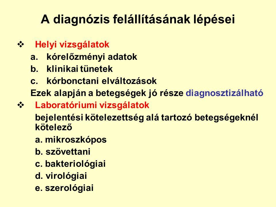A diagnózis felállításának lépései  Helyi vizsgálatok a.kórelőzményi adatok b.klinikai tünetek c.kórbonctani elváltozások Ezek alapján a betegségek j
