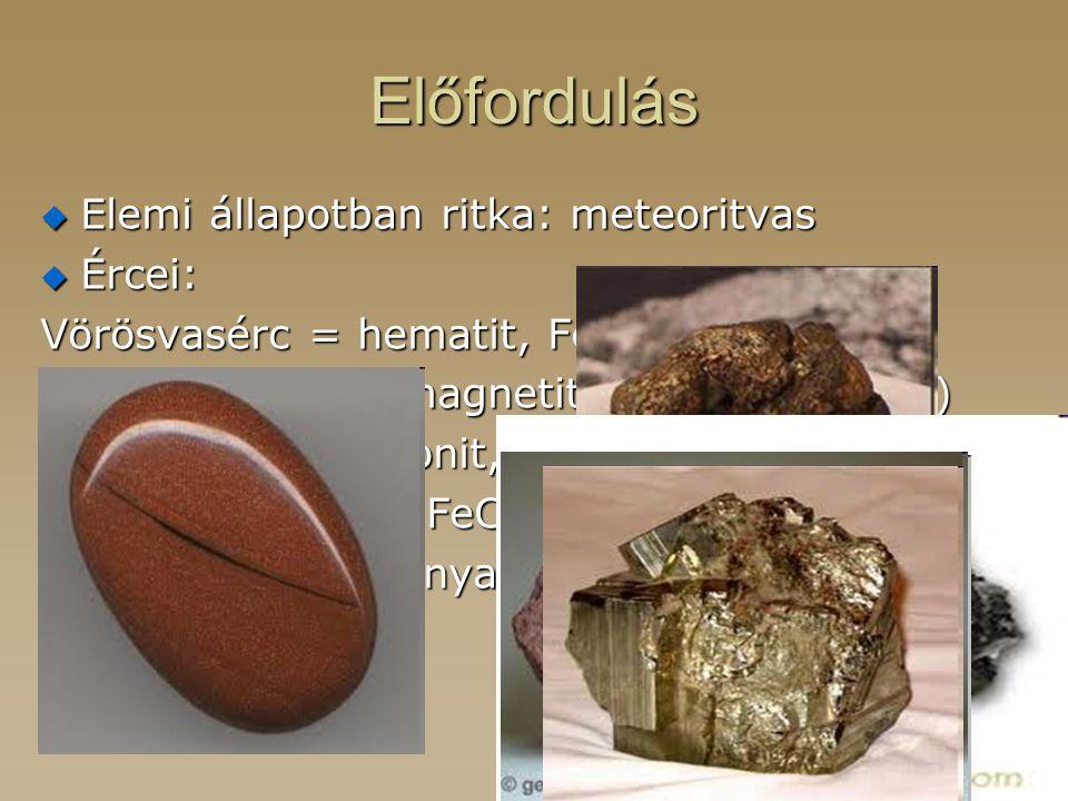 Előfordulás  Elemi állapotban ritka: meteoritvas  Ércei: Vörösvasérc = hematit, Fe 2 O 3 (40-65%) Mágnesvasérc = magnetit, Fe 3 O 4 (45-70%) Barnava