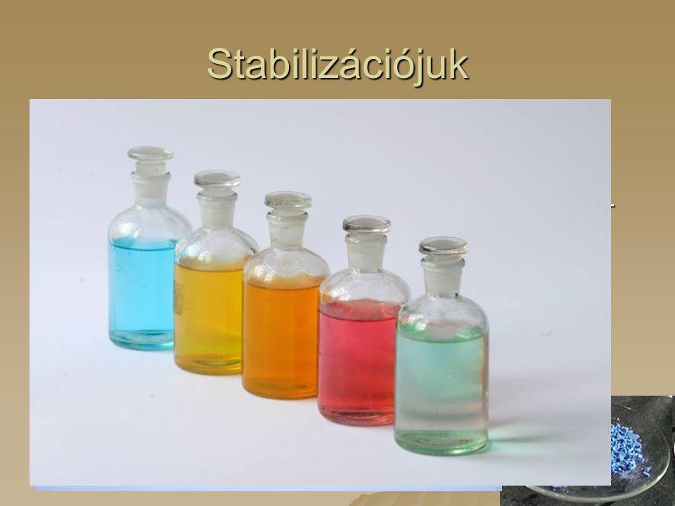 Stabilizációjuk  Fémrács  Ionképzés 2 vagy 3 elektron leadásával 2+ vagy 3+ töltésű ionokat képeznek. 2 vagy 3 elektron leadásával 2+ vagy 3+ töltés