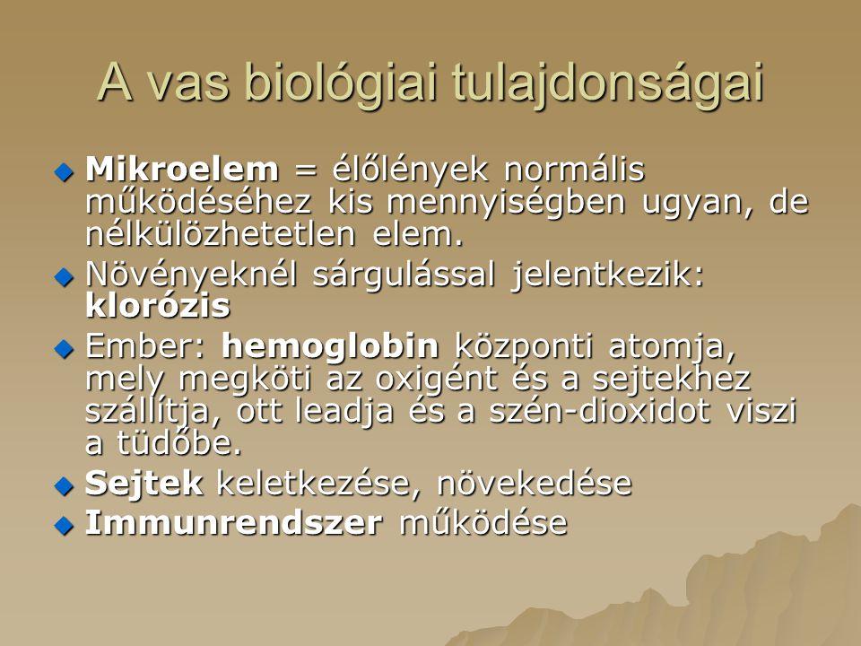 A vas biológiai tulajdonságai  Mikroelem = élőlények normális működéséhez kis mennyiségben ugyan, de nélkülözhetetlen elem.  Növényeknél sárgulással