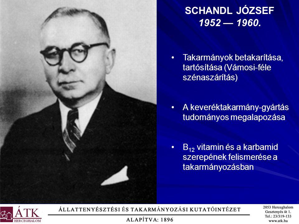 SCHANDL JÓZSEF 1952 — 1960. Takarmányok betakarítása, tartósítása (Vámosi-féle szénaszárítás) A keveréktakarmány-gyártás tudományos megalapozása B 12