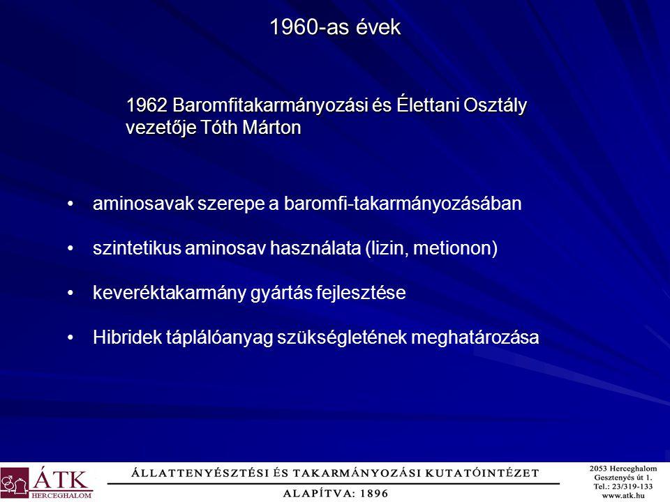 1960-as évek aminosavak szerepe a baromfi-takarmányozásában szintetikus aminosav használata (lizin, metionon) keveréktakarmány gyártás fejlesztése Hib