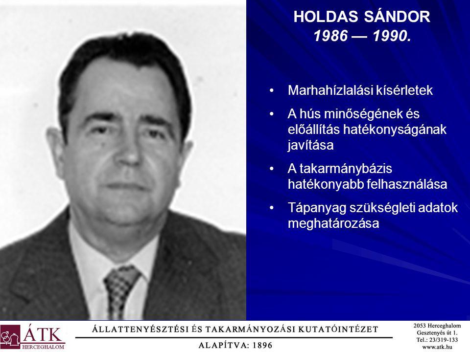 HOLDAS SÁNDOR 1986 — 1990. Marhahízlalási kísérletek A hús minőségének és előállítás hatékonyságának javítása A takarmánybázis hatékonyabb felhasználá