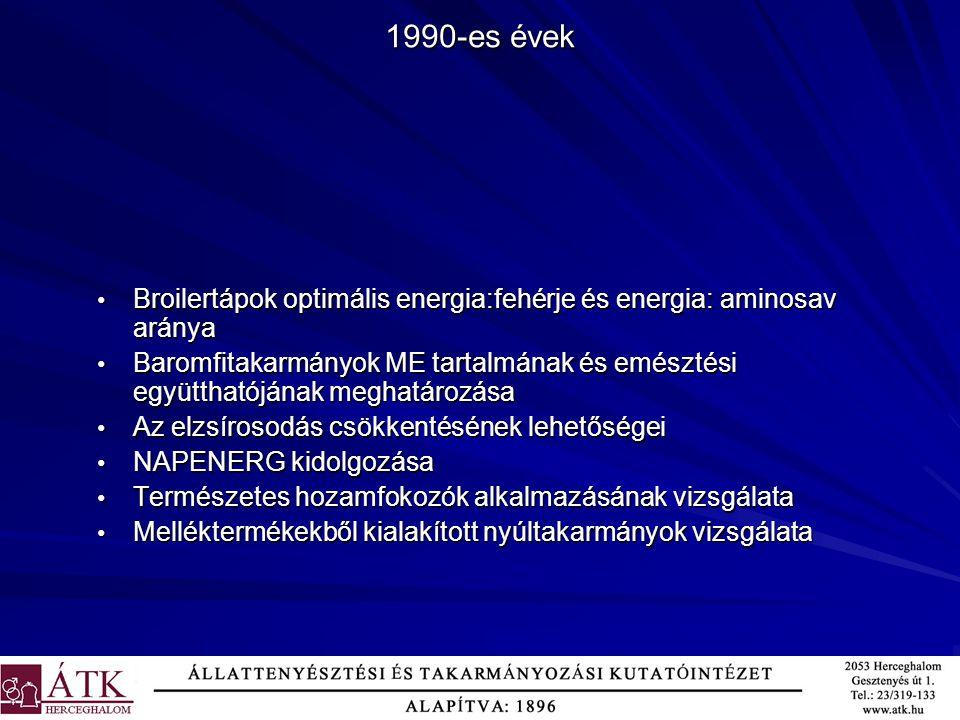 Broilertápok optimális energia:fehérje és energia: aminosav aránya Broilertápok optimális energia:fehérje és energia: aminosav aránya Baromfitakarmány