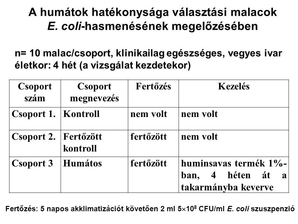 A humátok hatékonysága választási malacok E. coli-hasmenésének megelőzésében Csoport szám Csoport megnevezés FertőzésKezelés Csoport 1.Kontrollnem vol