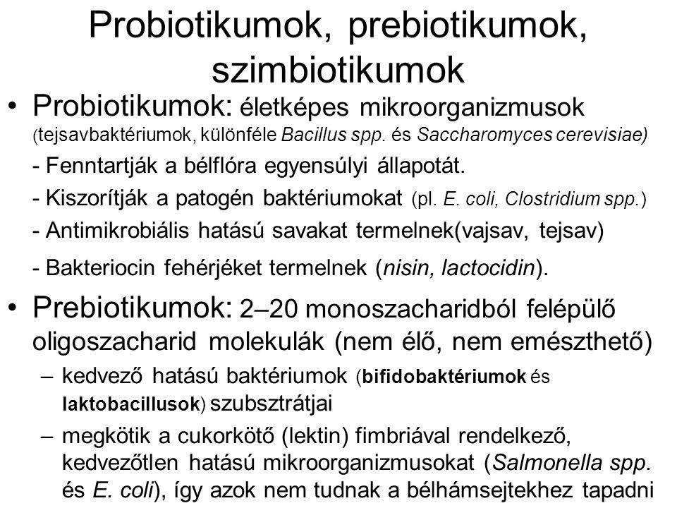 Probiotikumok, prebiotikumok, szimbiotikumok Probiotikumok: életképes mikroorganizmusok ( tejsavbaktériumok, különféle Bacillus spp. és Saccharomyces