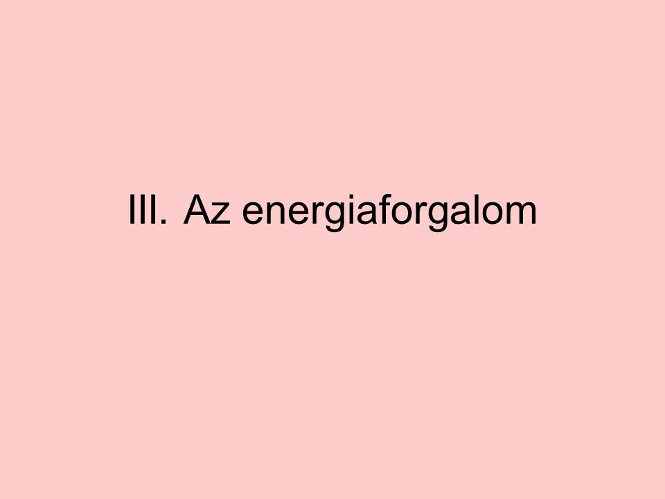 III. Az energiaforgalom